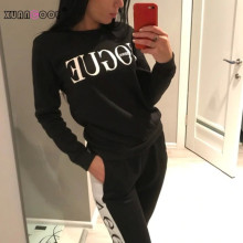 XUANCOOL New 2018 Women 2 Piece Clothing Set Casual Fashion Vogue Sweatshirt+Long Pants Tracksuit for Women Hoodie Suit
