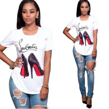 Hot Selling Women's Set Solid White High Heels Print O Neck Short Sleeve Top Jeans Pants
