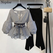 Neploe 2019 New Striped Blouse & Wide Leg Pants Set with Sashes Fashion Puff Sleeve Blusas + Flare Pants 2 PCs Women Suits 68191