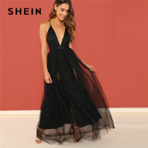 SHEIN Black Night Out Plunging Neck Deep V Neck Crisscross Back Cami Sleeveless Backless Dress Women 2018 Summer Sexy Dresses