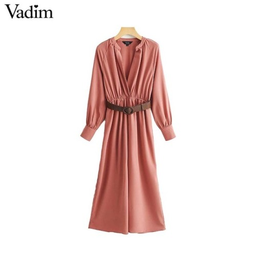 Vadim women elegant  V neck jumpsuits bow tie sashes elastic waist pockets chic rompers female casual retro playsuits KA809