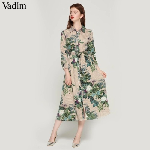 Vadim women vintage floral striped midi dress bow tie sashes long sleeve pleated female casual chic dresses vestidos QA178