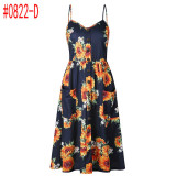 Summer Women Dress 2019 Vintage Sexy Bohemian Floral Tunic Beach Dress Sundress Pocket Red White Dress Striped Female Brand Ali9