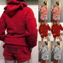Womens Ladies Warm Long Sleeve Hoodie+Shorts Tow Piece Set Pajamas Outfits Sleepwear