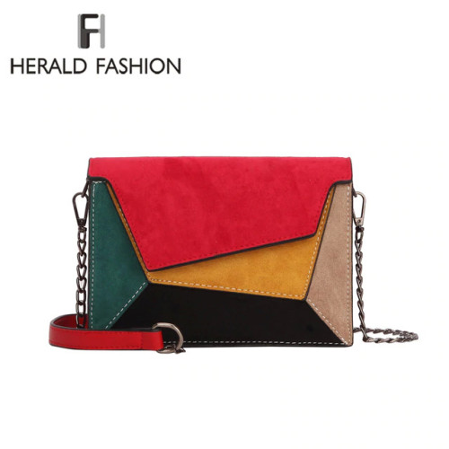Herald Fashion Quality Leather Patchwork Women Messenger Bag Female Chain Strap Shoulder Bag Small Criss-Cross Ladies' Flap Bag