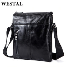 WESTAL Messenger Bag Men's Genuine Leather shoulder bag for men leather fashion Small Flap male Crossbody Bags handbags 1023