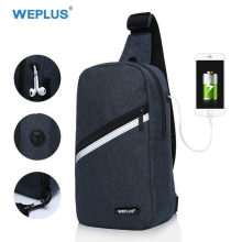 WEPLUS Crossbody Bags for Men Women Waterproof Chest Bag Pack Anti Thief Shoulder Bag Small Bag for Man USB Headphone Jack