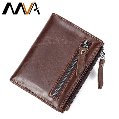 MVA Men Wallets Genuine Leather Wallets for Credit Card Holder Zip Small Wallet Man Leather Wallet Short Slim Coin Purse Men 604