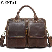 WESTAL Messenger Bag Men's shoulder bag Genuine Leather male Bags Men's Briefcase Laptop 14'' Tote Crossbody Bags for men 8002