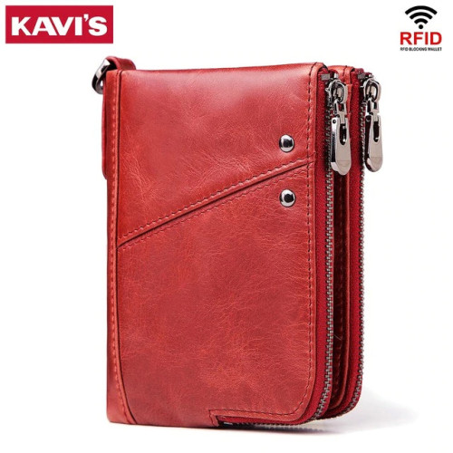 KAVIS Genuine Leather Women Wallet Female Red Rfid Coin Purse Small Walet Portomonee PORTFOLIO Money Bag Lady Mini Card Holder