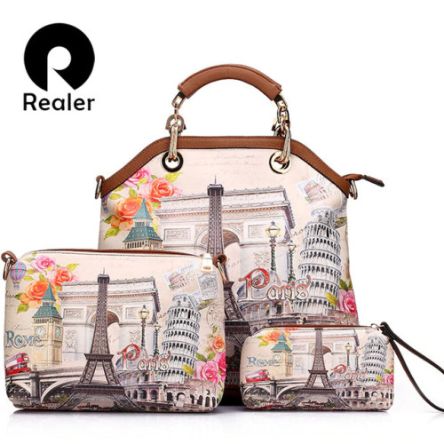REALER brand 3 pcs printed handbag women large tote bag artificial leather shoulder messenger bags female small coin purse