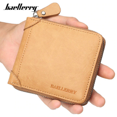 Baellerry Casual Style Zipper Men Wallets Card Holder Small Wallet Male Synthetic Leather Man Purse Coin Purse Men's Carteira