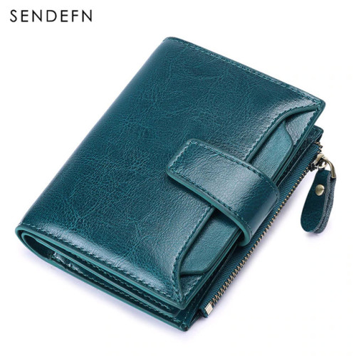 SENDEFN Women's Wallet Leather Small Luxury Brand Wallet Women Short Zipper Ladies Coin Purse Card Holder Femme Red/Blue 5191-69