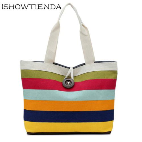 Summer Canvas Shopper Bag Striped Rainbow Prints Beach Bags Tote Women Ladies Girls Shoulder bag Casual Shopping Handbag Bolsa