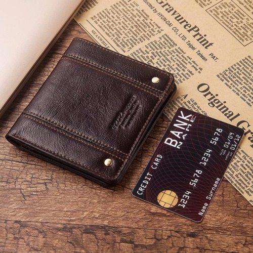 GZCZ ultra - thin Wallet Brand Design Genuine Leather RFID Men Wallets With Card Holder Fashion Slimline Male Short Mini Purse