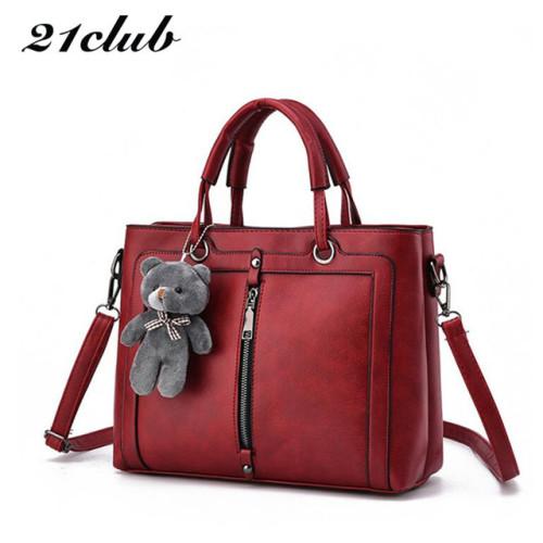 21club brand medium large capacity ladies totes zipper bear strap thread shopping office women crossbody shoulder bag handbags