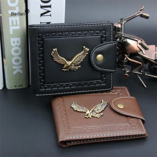2018 Vintage Metal Eagle Men Wallets Clutch Small Wallet Men PU Leather Brand Wallet Male Short Hasp Coin Purse Wholesale
