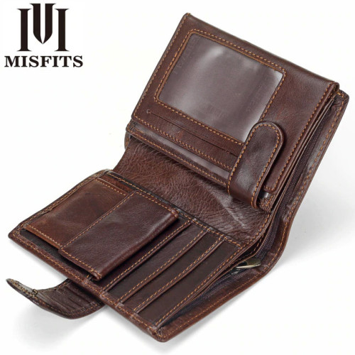 MISFITS Vintage Men Wallet Genuine Leather Short Wallets Male Multifunctional Cowhide Male Purse Coin Pocket Photo Card Holder