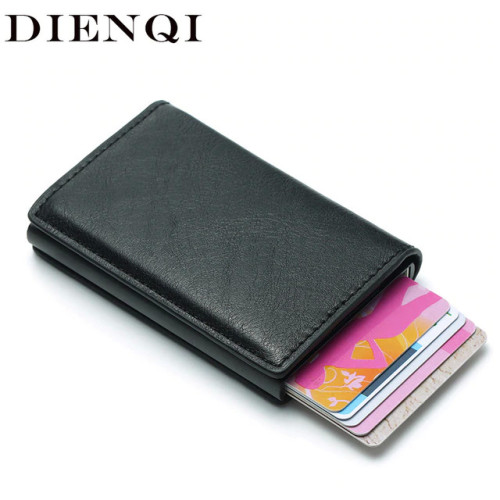 DIENQI Rfid Card Holder Men Wallets Money Bag Male Vintage Black Short Purse 2018 Small Leather Slim Wallets Mini Wallets Thin