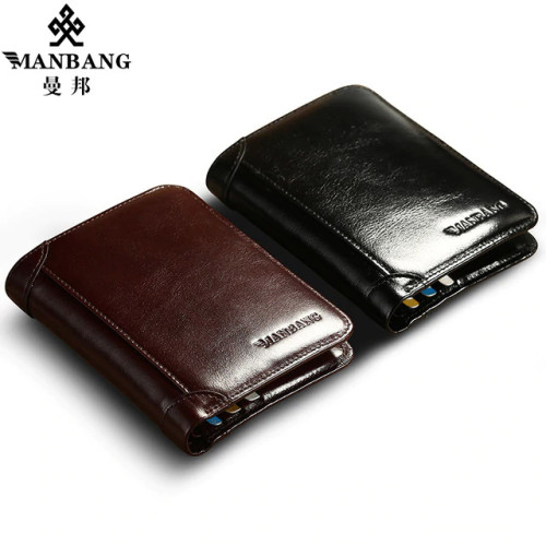 ManBang Classic Style Wallet Genuine Leather Men Wallets Short Male Purse Card Holder Wallet Men Fashion High Quality