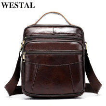 WESTAL Men's shoulder bag genuine leather bag for men messenger bags Flap zipper drop ship male Crossbody Bags handbags 8318
