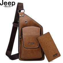 BULUO JEEP Brand Man's Sling Bag High Quality Leather Crossbody Chest Bag For Young Men Fashion Casual Shoulder Bags New Male