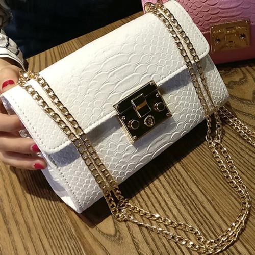 Fashion Ladies Crocodile Flap Bag Designer Handbags Women Bags 2018 Black White Small Day Clutch Gold Chain Girls Crossbody Bags