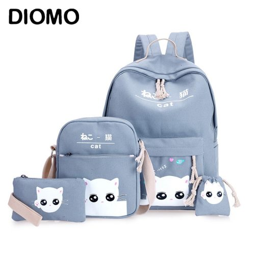 DIOMO 4pcs/Set Laptop School Backpacks for Girls Boys Teenagers Female Bagpack Sac A Dos Femme Cute Cat Canvas Satchel Kids