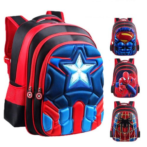 Superman Batman Spiderman Captain America Boy Girl Children Kindergarten School bag Teenager Schoolbags Kids Student Backpacks