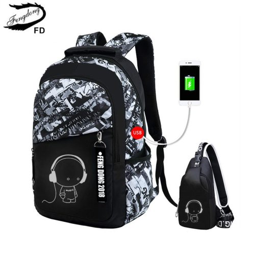 FengDong boys school bags waterproof large backpack for teenagers bagpack high school backpack for boy student chest bag set