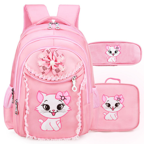 Portfolio School Bags For Girls 2018 Sweet Cute Cartoon Princess Cat Children Backpack Kids Lace Bookbag Primary School Backpack