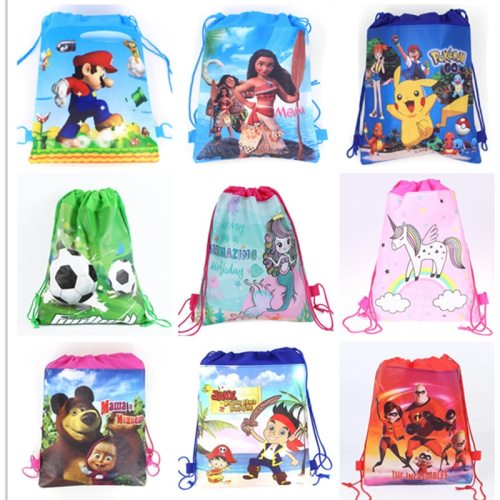1pc Cartoon School Bag for Boy,Girl Mario,Football, Avengers Drawstring School Backpack Birthday Gift Bag Student book bag