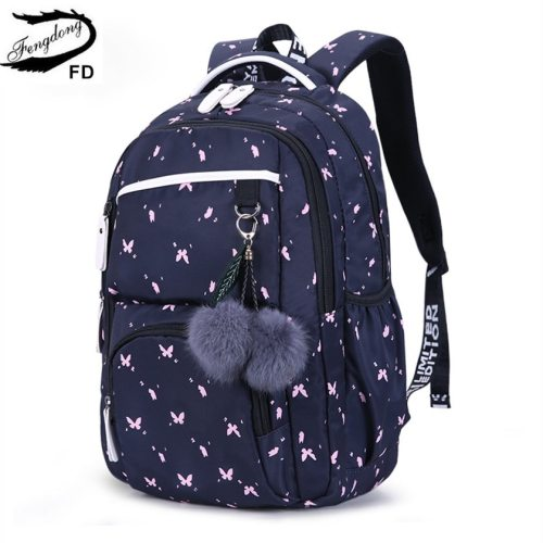 FengDong cute school bags for teenage girls korean style school backpack for girls fur ball decoration children bag girl gift