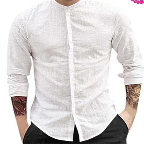 New Men's Long Sleeve Solid Cotton Linen Casual Shirts Shirt V-Neck Cotton Chinese Style Summer Beach Top