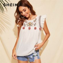 SHEIN Cute Boho White Ruffle Trim Pompom Detail Floral Embroidery Top Blouse Women O-Neck Sleeveless Keyhole Back Ruffle Blouses