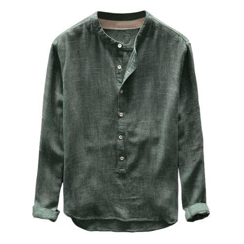 Plus Size 4XL Tunic Mens shirt Solid linen Basic Button Casual Linen Cotton Long Sleeve V-neck shirts men Summer 2019 tops