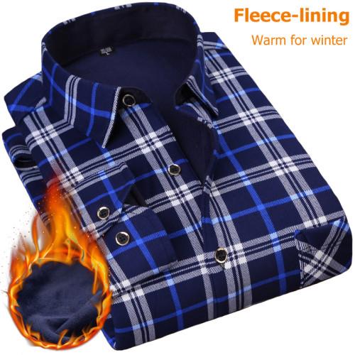 NIGRITY New Men's Long Sleeve Plaid Warm Thick Fleece Lining Shirt Fashion Soft Casual Flannel Shirt Comfortable Plus Size L-4XL