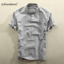 2019 Schinteon Men Casual Cotton Linen Shirt Summer Solid Color Thin Short Sleeve Stand Color