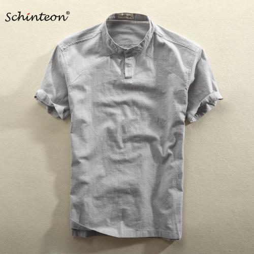 2019 Schinteon Men Casual Cotton Linen Shirt Summer Solid Color Thin Short Sleeve Stand Color