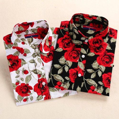 Dioufond Long Sleeve Blouse Women Cotton Vintage Floral Plus Size Female Blouse Fashion Women Shirt Clothing Spring Autumn Tops