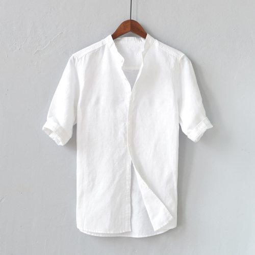 Men Solid Soft Cotton Linen Casual Shirts Summer Fashion Five-point Sleeve Shirts Man Male Loose Shirt Tees Clothes Top M-3XL