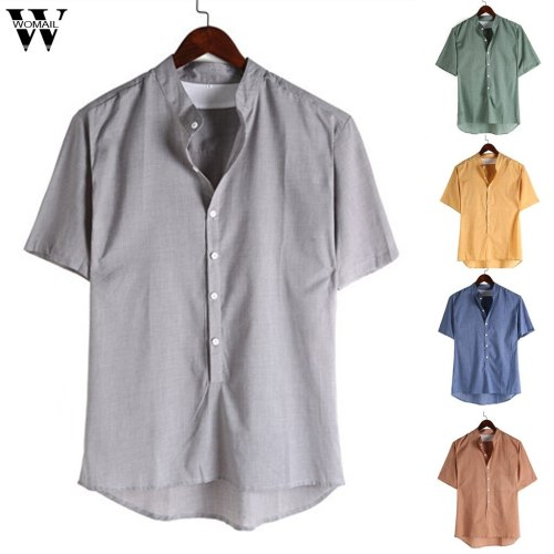 Womail Men Shirt Short-sleeved Baggy Cotton Linen Solid Button Shirts Daily Beach high quality New summer Fashion M-4XL