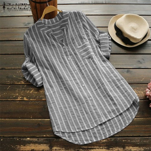 ZANZEA Plus Size Women Blouse 2019 Summer Womens Striped Tops Casual Work Shirts Ladies Elegant Blusas V Neck Blusa Feminina 5XL