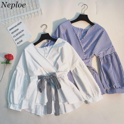 Neploe Japanese Spring Fashion Slim Shirts Ruffles Lace Up Long Sleeve Blusas Adjustable Waist V-neck Elegant Blouse 66619