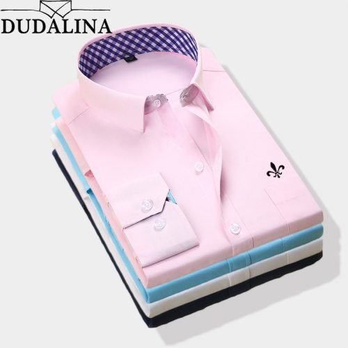 DUDALINA 2019 New Classical Dress Shirt Male Shirt Men Spring Autumn Long Sleeve Solid Twill Formal Business Men Social Shirts