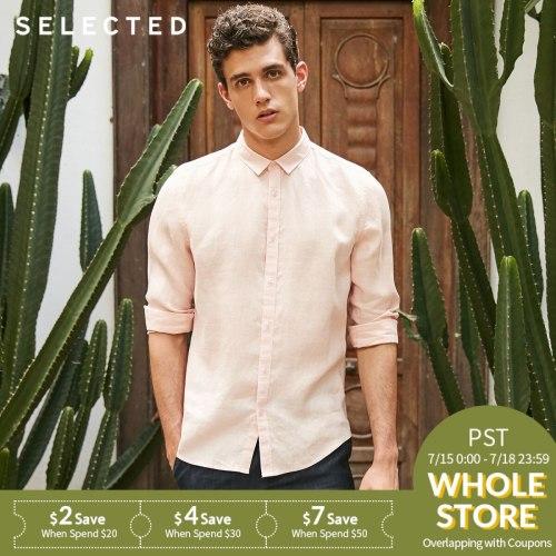 SELECTED Linen Men Shirts Flax Concise Leisure Long-sleeved Streetwear Beach Shirt for Men S 418205517