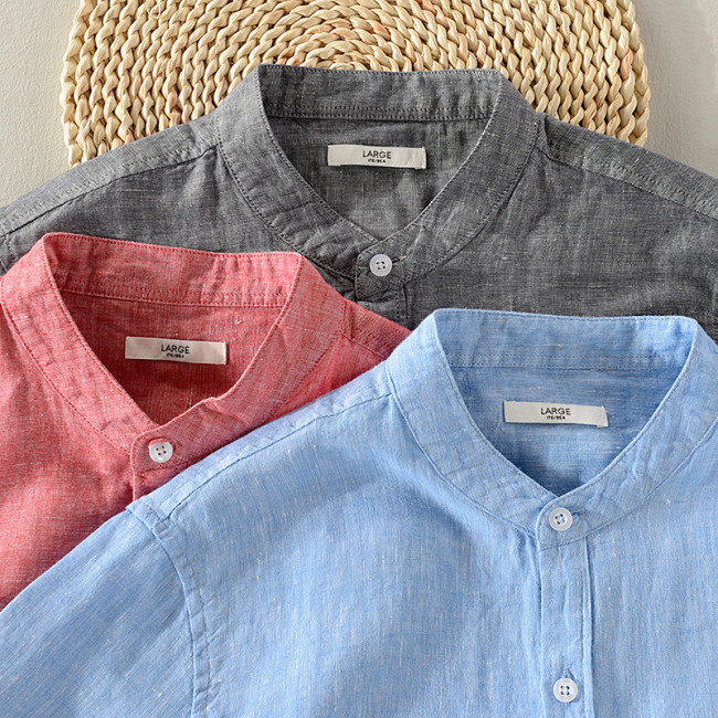 2018 New arrival stand collar linen shirt men short sleeve breathable shirt mens cotton solid coral-red shirts male chemise