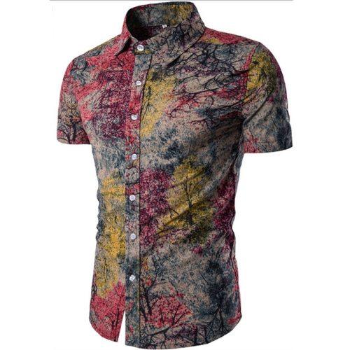 Men's Shirt 2019 New Men's Fashion Linen Shirt Men's Casual Slim Linen Print Short Sleeve Shirt