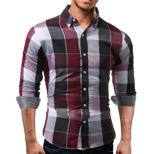 Men's Autumn Daily Tartan Long Sleeved Pullover Fastener Sweatshirts Top Blouse Long Sleeve Shirt Men Plaid Cotton Casual shirts