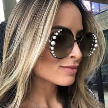 COOLSIR Brand Sunglasses Women Luxury Pearl Sunglasses Vintage Round Sun Glasses Shades for Women Gold Metal Oculos UV400